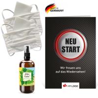 """Care Paket """"Kombi"""": Stoffmasken + Desinfektion"""