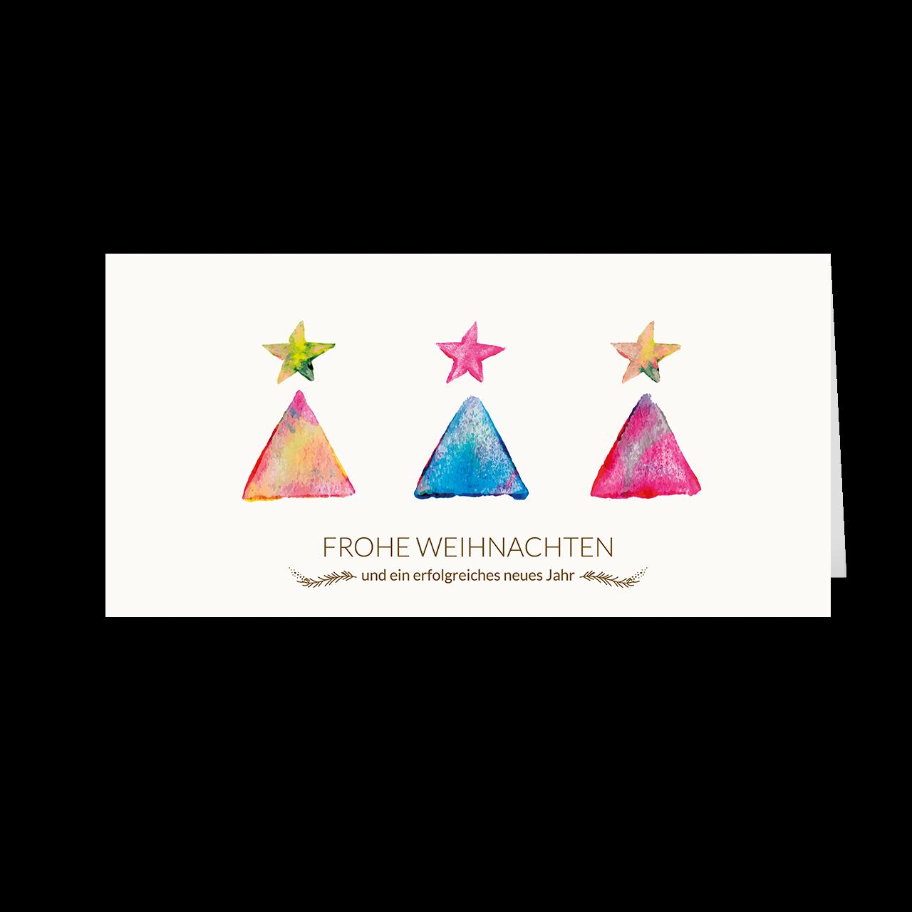Weihnachtskarte – Aquarell Tannen