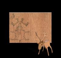 Holzpostkarte Rentier