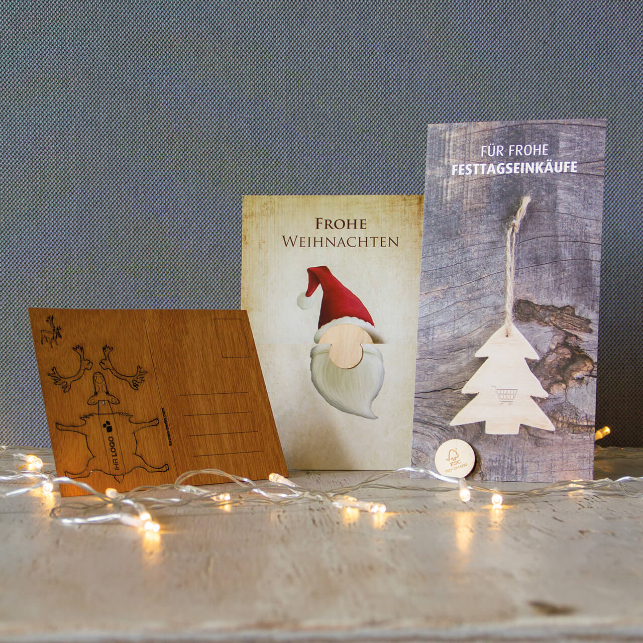 firmen weihnachtskarten aus holz mit logo weihnachtsplaner. Black Bedroom Furniture Sets. Home Design Ideas