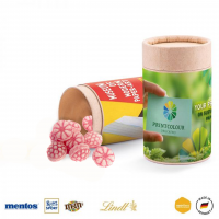 Papierdose Eco Midi mit veganen Himbeerbonbons