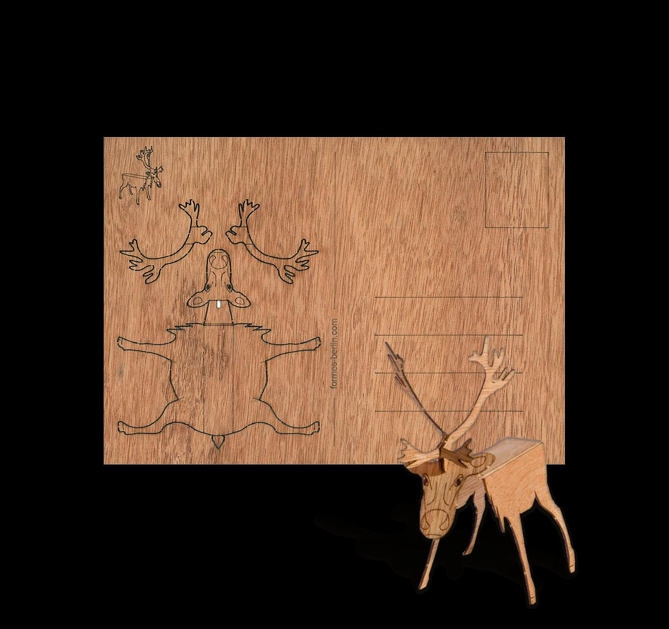 weihnachtskarte zedernholz rentier weihnachtsplaner. Black Bedroom Furniture Sets. Home Design Ideas