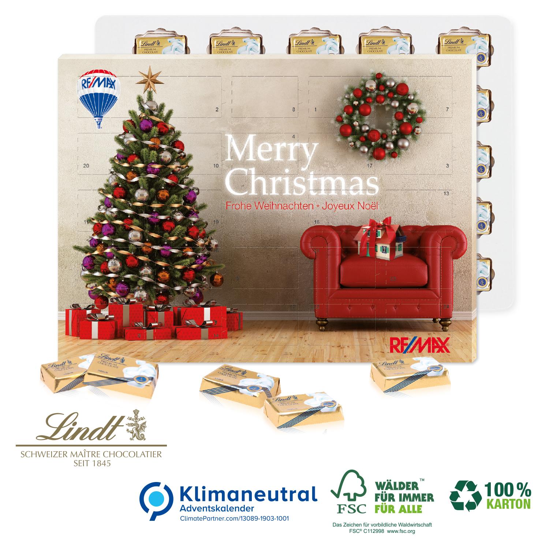 Frohe Weihnachten Hindi.ökologischer Karton Adventskalender Lindt Täfelchen Weihnachtsplaner